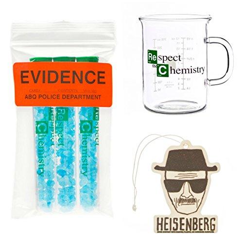 Cool TV Props - Breaking Bad Fan Pack - Respect the Chemistry Beaker Mug, Blue Sky Candy, & Heisenberg Air Freshener - Breaking Bad TV Show Memorabilia & Gifts