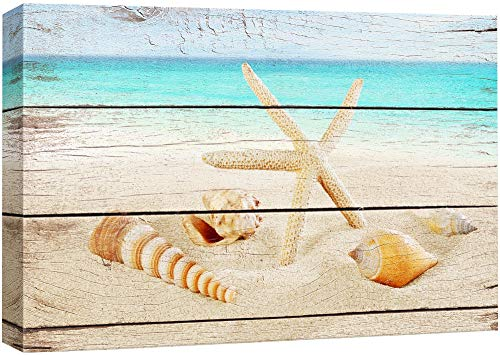 wall26 Canvas Prints Wall Art - Starfish and Seashells on The Beach with Vintage Wood Background - 12' x 18'