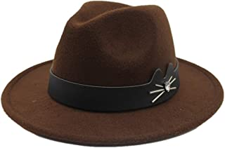 AiHua Huang Unisex Men Women Wool Fedora Hat With Leather Belt Autumn Trilby Hat Church Jazz Hat Size 56-58CM