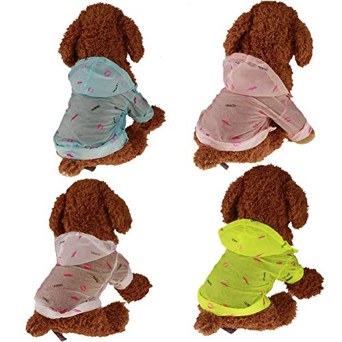Danigrefinb T-Shirt, Lips Kiss Zomer Zonwerende Huisdier Kleding Hooded Hond T-shirt Lichtgewicht Jas, XL, Geel