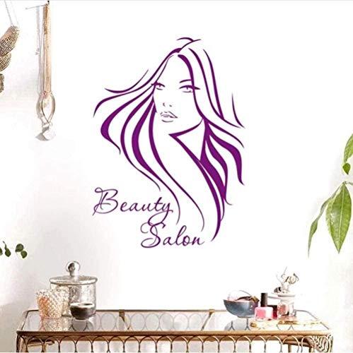 Etiqueta de la pared etiqueta de la pared decoración etiqueta de bricolaje peluquería salón de belleza sexo chica corte de pelo arte de la pared decoración de la ventana etiqueta de la pared 58X81Cm