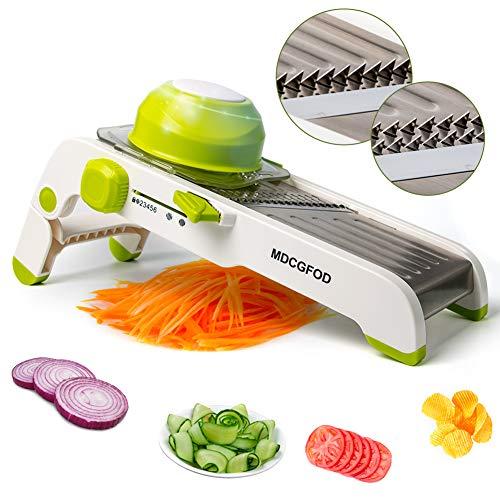 HONGTEYA, affettatrice a mandolina regolabile in acciaio inox per verdure, affettatrice professionale con lama a V per frutta, patate, cipolla, formaggio, pomodoro, cavolo