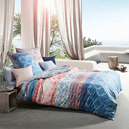 fleuresse Mako-Satin Bettwäsche Modern Life Laholm blau 1 Bettbezug 135x200 cm + 1 Kissenbezug 80x80 cm