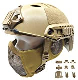 Tactical Airsoft Fast Helmet PJ Type and Metal Mesh Mask Foldable Double Straps Protect Ear Full Face Protection (Khaki)