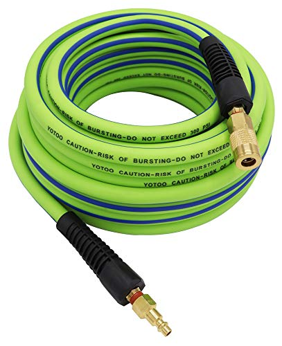YOTOO Hybrid Air Hose 3/8-Inch by 50-Feet 300 PSI Heavy Duty, Lightweight, Kink Resistant, All-Weather Flexibility with 1/4-Inch Industrial Quick Coupler Fittings, Bend Restrictors, Green+Blue