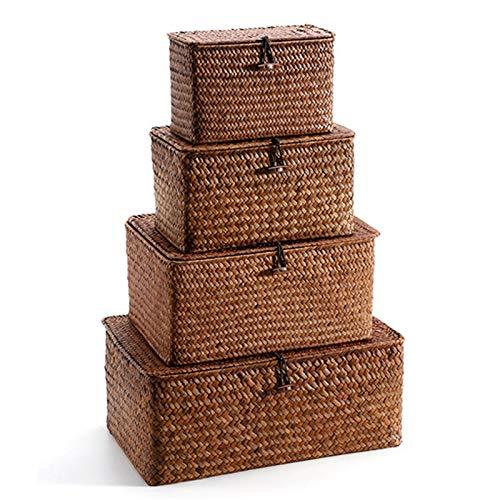 Huante Juego de 4 cubos de almacenamiento de paja tejida con tapa, cesta rectangular de junco marino/cesta de almacenamiento para organizador de estantes