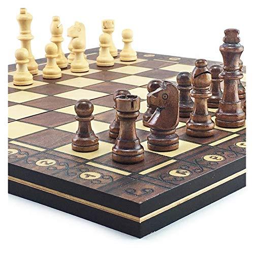 JDJD Schachspiel magnetisch Magnetschach Set Supermagnetische Hölzerne Schach-Backgammon-Kontrolleure 3 In 1 Schachspiel Antike Schach Reise Schach-Set (Color : 34 x 34cm)