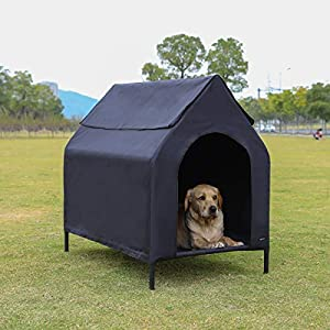AmazonBasics Elevated Portable Pet House, Medium (43 x 35 x 30 Inches), Black