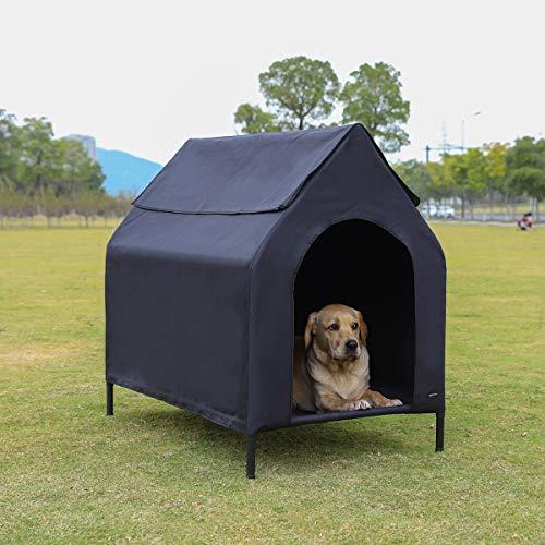 AmazonBasics - Caseta para mascotas, elevada, portátil, mediana, negra
