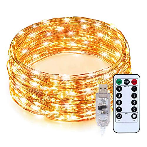 Gavenia Lights 33ft with 100 LEDs, Waterproof Copper Wire Lights, Outdoor & Indoor Decorative Fairy Lights for Bedroom, Patio, Garden, Party, Wedding, Christmas and More