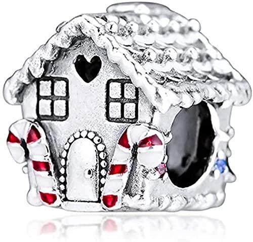 LGUC Pulseras de los Hombres Invierno Navidad Gingerbread Bead 925 Silver DIY Se Adapta a Pulseras Pandora Originales Charm Joyería de Moda
