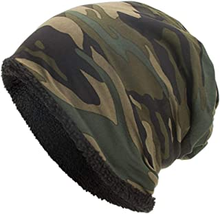 CANAFA Winter Beanie Hats for Women Cozy Cuffed Winter Plus Velvet Camouflage Hat Warm Snow Ski Skull Cap