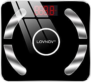 LOVNOV Bluetooth Body Fat Scale Smart BMI Scale Digital Bathroom Wireless Weight Scale, Body Composition Analyzer with Sma...