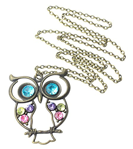 Stone River Jewellery Blue Eyed Bronze Tone Owl Pendant Long Chain Necklace Vintage Style Lilac, Lemon & Pink Stones