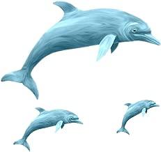 Amaonm Removable 3 Pcs Jumping Blue Dolphin Wall Decals DIY Wall Stickers 3D Nursery Art Decor Peel Stick Decoration Decal for Girls Bedroom Kids Bathroom Living Room Window Door Sticker Murals