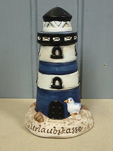 Maritime Spardose Sparbüchse Urlaubskasse Leuchtturm blau aus Keramik