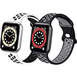 Sport Silicone Bands Compatible with Apple Watch Band 40mm 38mm 44mm 42mm, 2 Pack Soft Breathable Silicone Bands for Men Women Compatible for iWatch Series 6/5/4/3/2/1 SE