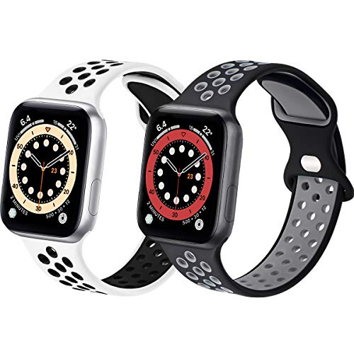 Sport Silicone Bands Compatible with Apple Watch Band 45mm 44mm 42mm 38mm 40mm 41mm, 2 Pack Soft Breathable Silicone Bands for Men Women Compatible for iWatch Series 7/6/5/4/3/2/1 SE