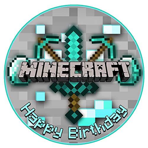 Tortenaufleger Minecraft Motiv Essbare Tortendeko Tortenbild Kuchendekoration Fondant Rund Ø20CM