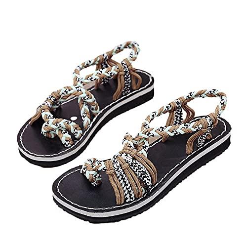 Sandalias Mujer Flip flop Verano Nuevo 2021 Planas Moda Sandalias de Vestir Playa Chanclas para Mujer Cordón Zapatos Sandalias de Punta Abierta Bohemia casual Sandalias Fiesta Cómodo