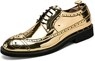 f8eb7dab60 MST Mens Patent Leather Shoes Vintage Dress Wingtip Oxford Lace Up  Perforated Flats