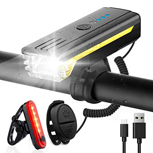 Luci Bicicletta LED Anteriore e Posteriore, Luce Bici con Clacson e Luce Laterale, 500 Lumen Faro Bici Ricaricabili USB, Impermeabili IPX4, 4 Modalità di Illuminazione e Indicatore della Batteria