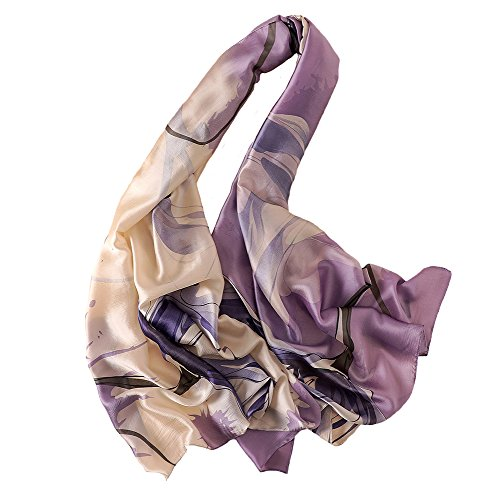 100% Mulberry Silk Scarf Women's Fashion Large Satin Headscarf Ladies Floral Pattern Scarf Gift for Valentine's Day (Flower-purple)