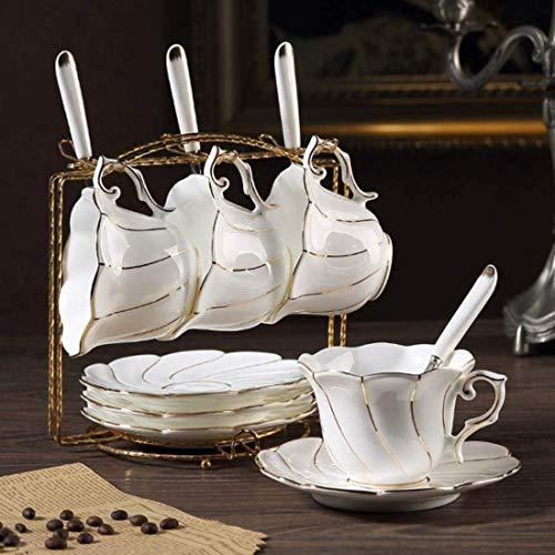 WCY Kaffeetasse Saucer Set Keramik Goldene Felge Tee Tassen Nachmittag Tee Party Zuckertopfschüssel Teekanne Hochzeit GIF, vierteilige Set Becher yqaae
