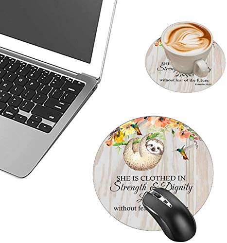 Round Mouse Pad and Coasters Set, Proverbs 31:25 Christian Quotes Bible Verse Mousepad, Anti Slip Rubber Round Mousepads Desktop Notebook Mouse Mat for Working and Gaming Photo #4