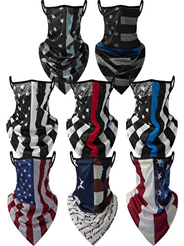 8 Pieces Face Cover Scarf Bandana Ear Loops Balaclava Unisex Cooling Neck Gaiters Scarf Shield, 8 Styles (American Flag)