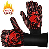 SEGOAL BBQ Gloves Smoker Griller Gloves 1472℉ Extreme Heat Resistant Potholders Food-Grade Kitchen Oven Mitts for Barbecue, Cooking, Baking, Cutting, Welding, Silicone Non-Slip Cooking Gloves