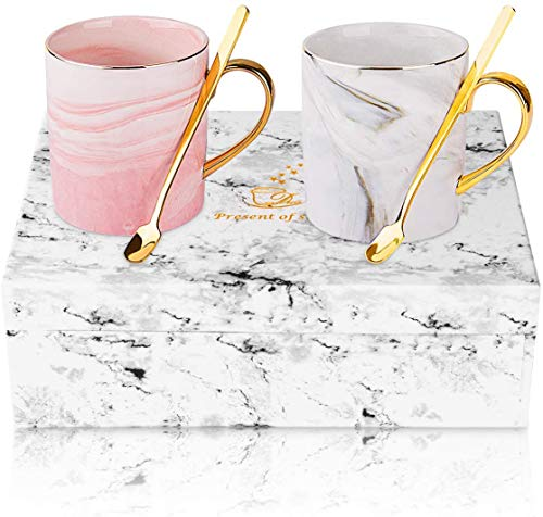 Taza de café Ansug personalizable, para parejas, cerámica, café, mármol, con cucharilla...