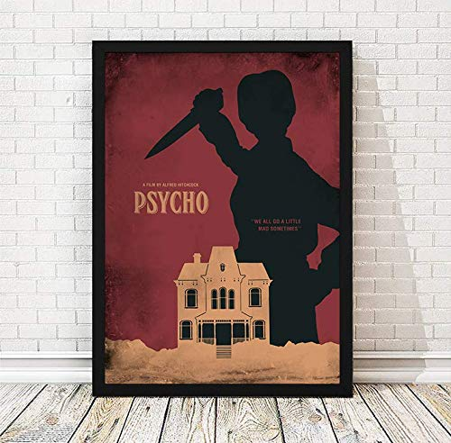 Psycho Alfred Hitchcock Minimalist Movie Poster, Artwork Print, Cafe Decor, Wall Hanging, Office Decor, Home Decor, Horror Movie Poster, Unframed Print
