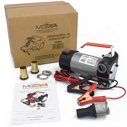 MGidea Pompa ASPIRAZIONE Diesel Olio TAGLIANDO Auto Moto Portatile TRAVASO 12V 160W 40L/MIN in Metallo