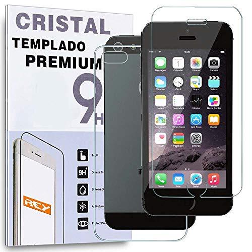 REY Protector de Pantalla Delantero + Trasero para iPhone 5 / 5S,...