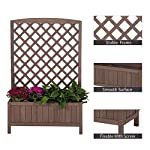 """Raised Garden Bed Outdoor Planter Box with Trellis for Flower Standing Vertical Lattice Panels for Vine 31"""" L x 12"""" W x 47"""" H 11 OVERALL DIMENSIONS: 31.1""""(L) x 12.2""""(W) x47.2""""(H).garden raised bed perfect for all kinds of plants, anywhere - gardens,yard, terraces, balconies, corridors,patios, turn your space into a green one. Garden planter with trellis creates a good stable environment for your creeping and vine plants.Any kind of Light gardening tools and beautiful decorations can be hung on the trellis to beautify your garden. Reinforced thick frame supported flower box can strongly hold for the heavy plants,soil, water. Large space to grow anything from flowers to vegetables to herbs,it can serve a decorative work,also fully plays it practical role."""