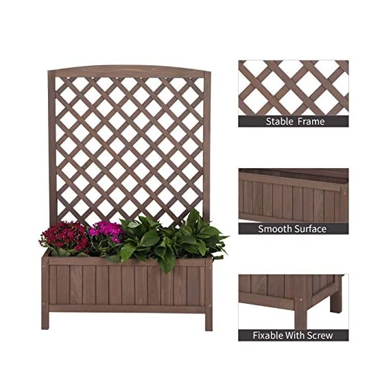 """Raised Garden Bed Outdoor Planter Box with Trellis for Flower Standing Vertical Lattice Panels for Vine 31"""" L x 12"""" W x 47"""" H 5 OVERALL DIMENSIONS: 31.1""""(L) x 12.2""""(W) x47.2""""(H).garden raised bed perfect for all kinds of plants, anywhere - gardens,yard, terraces, balconies, corridors,patios, turn your space into a green one. Garden planter with trellis creates a good stable environment for your creeping and vine plants.Any kind of Light gardening tools and beautiful decorations can be hung on the trellis to beautify your garden. Reinforced thick frame supported flower box can strongly hold for the heavy plants,soil, water. Large space to grow anything from flowers to vegetables to herbs,it can serve a decorative work,also fully plays it practical role."""