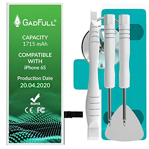 GadFull Batteria Compatibile con iPhone 6S | 2020 Data di Produzione | Manuale Profi Kit Set di Attrezzi | Batteria di Ricambio Senza cicli di Ricarica | con Tutti Gli APN Originali
