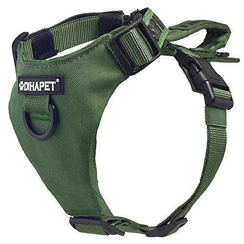 Cómodo arnés de perro chaleco de entrenamiento para perros con asa resistente para perros grandes, medianos y pequeños suministros para mascotas (color verde militar, tamaño: grande)