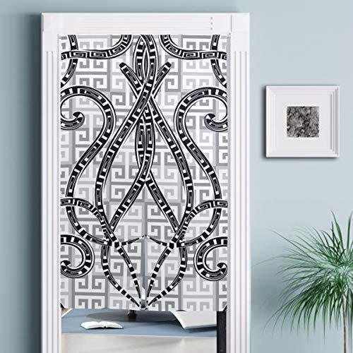 JISMUCI Vorhänge für Türen,Griechischer Vektor Schwarz Weiß Geometrisch Nahtlos,Türvorhang Für die Küche Wohnzimmer Schlafzimmer