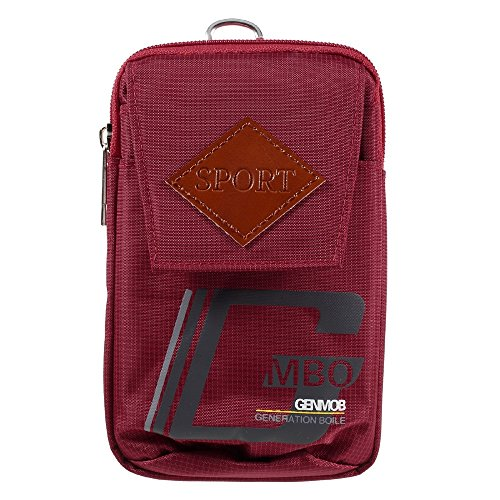 DFV mobile - Bag Multipurpose Sport Design Belt Case for LEECO X850 LE MAX 3 - Red (17 x 10 cm)