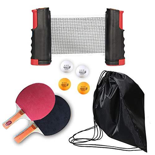 DYJD tafeltennistafel tafeltennistafel, met intrekbare tafeltennistafel, 2 rackets, 4 ballen, 1 intrekbaar net en opbergtas