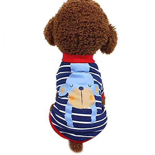 EUZeo Niedliches Tier gestreiftes Sommer Hundekleidung T-Shirt Welpen Kostüm Katze Hund Pullover Kleine wasserdichte Haustier Hund Katze Haustierpullover Hundebekleidung Hundeshirts