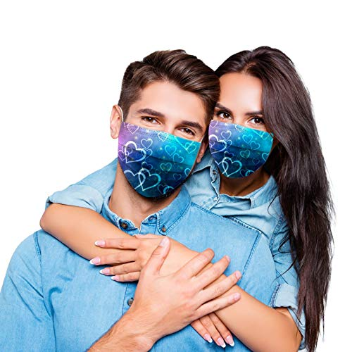 Disposable Face_Masks for Women Men, Love Happy Valentine's Day Heart Print Face_Mask for Adults with Breathable 3 Layer Protection with Elastic Ear Loops & Nose Wire E:20PCS