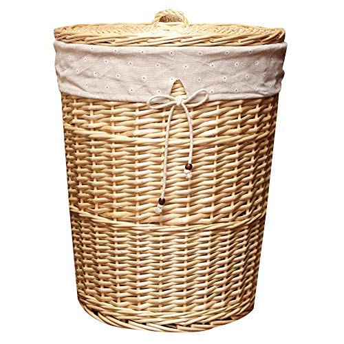 Laundry Hamper Laundry Basket Storage Bin Large Woven Laundry Basket with Lid Cloth Lining Round Structure Wicker Linen Laundry Storage Basket Laundry Hamper with Removable Lining, 4 Sizes,WhiteD,L