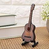 Regun Guitarra Decoración, 10cm Brown Miniatura de Madera Guitarra Modelo despliegue Musical Adornos Mini Guitarra Modelo Craft Decoración