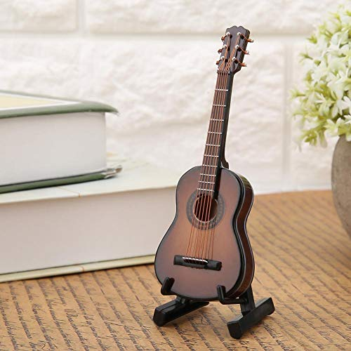 Regun Gitarren-Dekor, 10cm Brown Miniatur-Holzgitarre Modelldarstellung Musik Ornaments Mini Guitar Craft Home Decor