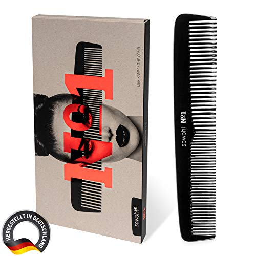 sowohl® No1 – Der Kamm – Handgefertigt, Made in Germany | Professioneller Friseurkamm – antistatisch, hitzebeständig, stabil, langlebig | Mittlere und feine Zähne | Nachhaltiger 19,5cm Haarkamm