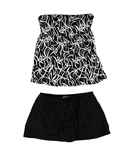 24th & Ocean Womens Tummy Control Skirt 2 Piece Bandeau, Black, Small