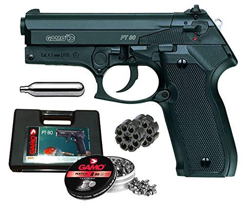 Tiendas LGP - Gamo, Pistola perdigón Gamo PT-80. Calibre 4,5 mm. 3,5 Julios + Maletín de Transporte + 250 balines + 2 Cargadores + Bombona CO2